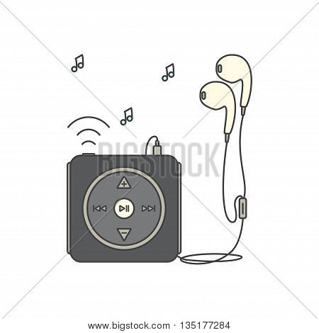 Music player with headphones. Music device line icon. Vector illustration on white background. Mp3 player over White.