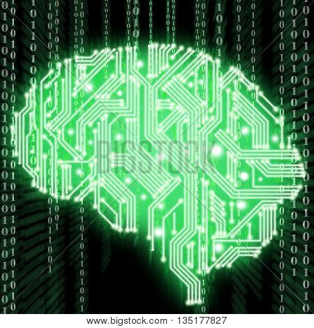 Illustration Of Human Brain Shaped Circuit Board Isolated On Black Background