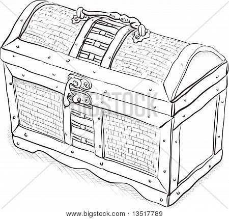 Wooden Pirate Chest - Vector Illustration