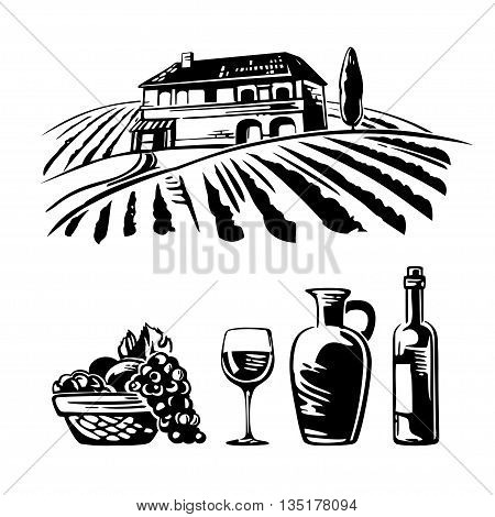 Rural landscape with villa, vineyard fields and hills. Basket with grapes, a bottle wine, a glass and a jug of wine. Black and white vintage vector illustration for wine label, poster, web, icon.
