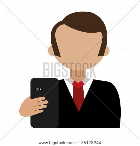 cartoon avatar man with coloful hair and black smartphone front view over isolated background, vector illustration