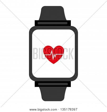 electronic watch with media screen and heart beats  front view over isolated background, vector illustration