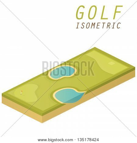 Golf course vector isometric illustration on white background.