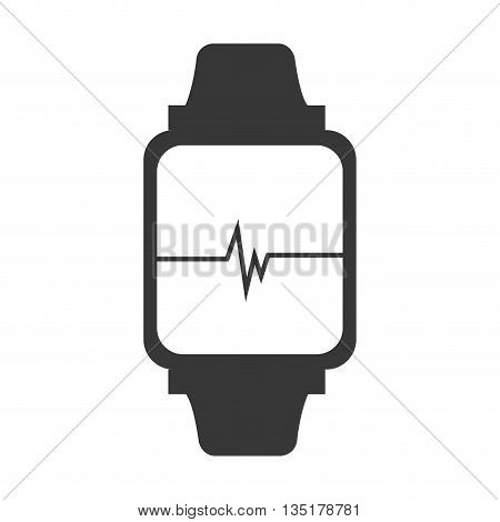 electronic watch with media screen front view over isolated background, vector illustration
