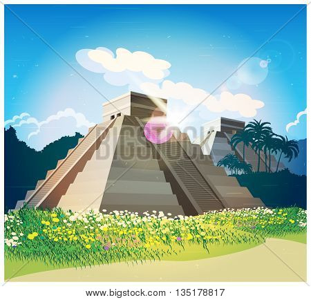 Stylized vector illustration of ancient Mayan pyramids in the jungle