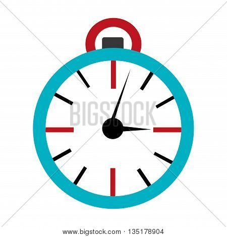blue orbed clock with red lines over isolated background, vector illustration