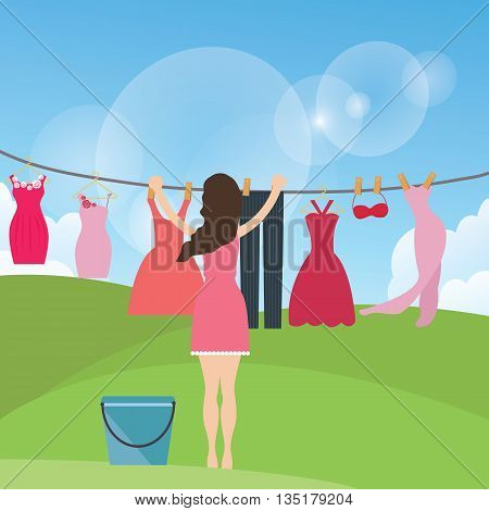 Drying clothes hanging under the sun outdoor vector