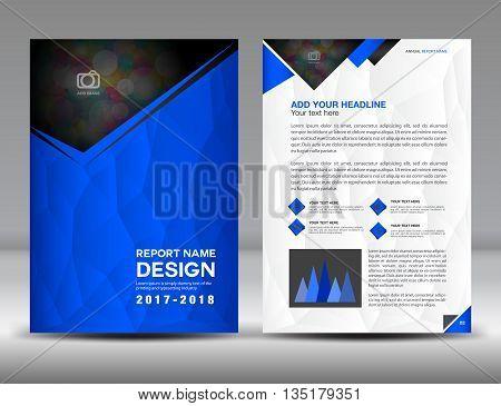 Blue report brochure flyer template cataloge design