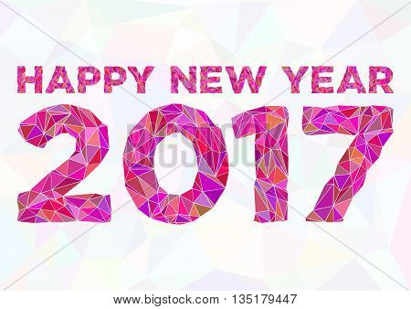 Wishes with Christmas and New Year 2017. Abstract polygonal background with text and 2017 in triangular ornament in pink colors. Vector illustration