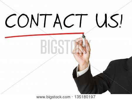 Businessman in suit drawing the text 'contact us' isolated on white background