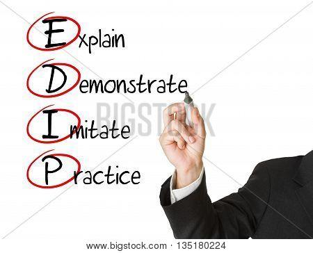 Businessman writing EDIP business acronym on whiteboard isolated on white background