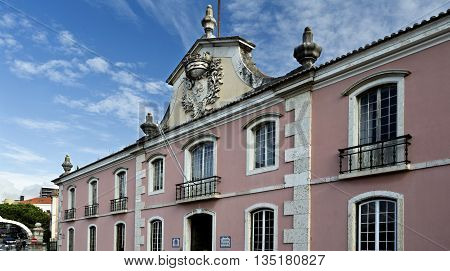 OEIRAS, PORTUGAL - November 4, 2015: Occupying the former palace coach house is the actual Town Hall of the city of Oeiras on November 4, 2015 in Oeiras, Portugal