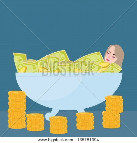 woman bathing in money filthy rich wealth success fortune vector