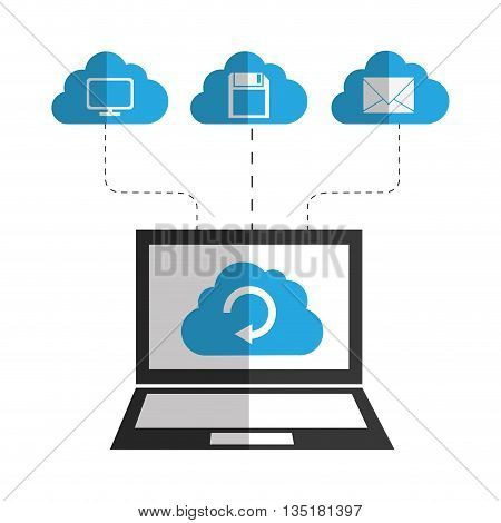 Cloud computing and hosting design with multimedia icons, vector illustration.
