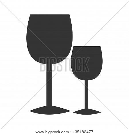 black glasses of wine front view over isolated background, vector illustration