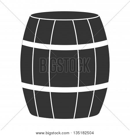 black barrel front view and white stripes over isolated backgound, vector illustration
