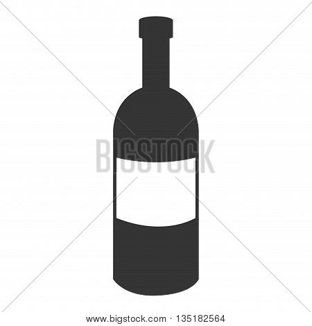 black liquor bottle with white square front view over isolated background, vector illustration