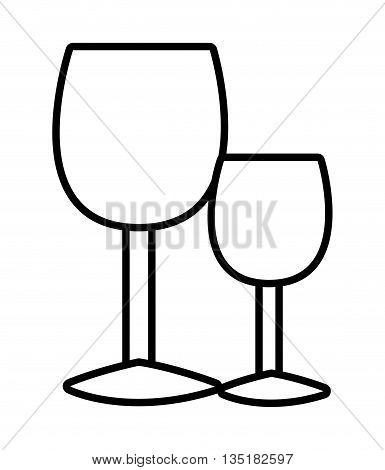 white glasses of wine front view over isolated background, vector illustration