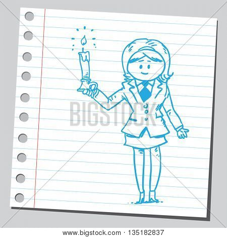 Businesswoman holding candle