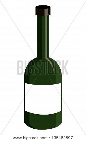 green liquor bottle with white square front view over isolated background, vector illustration