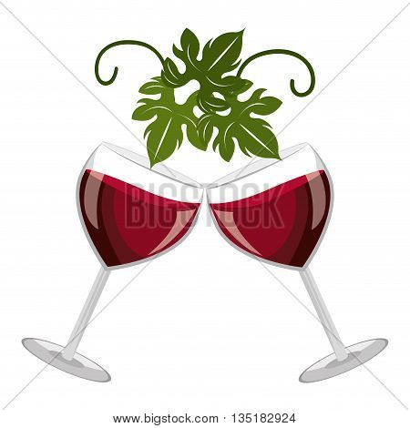 glasses of wine with green tree leaves on the top front view over isolated background, vector illustration