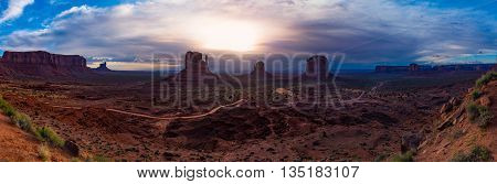 Monument Valley Cloudy Sunrise Panorama