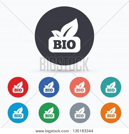 Bio product sign icon. Leaf symbol. Flat bio icon. Simple design bio symbol. Bio graphic element. Circle buttons with bio icon. Vector