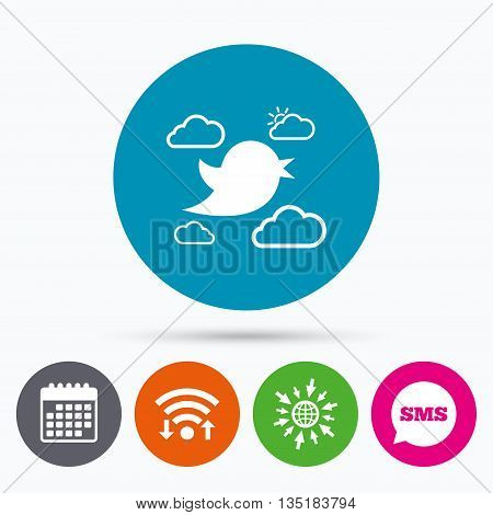 Wifi, Sms and calendar icons. Bird icon. Social media sign. Short messages symbol. Clouds with sun. Go to web globe.