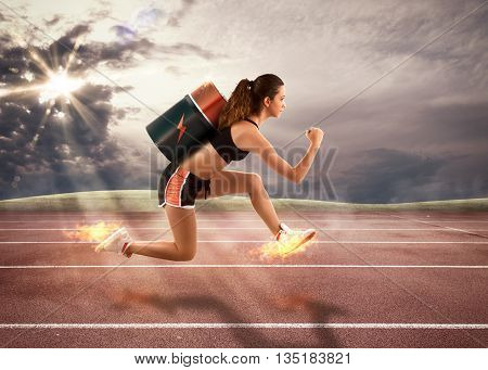 3D Rendering of a woman with battery runs