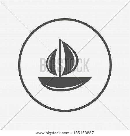 Sail boat icon. Ship sign. Flat yacht icon. Simple design yacht symbol. Yacht graphic element. Round button with flat yacht icon. Vector