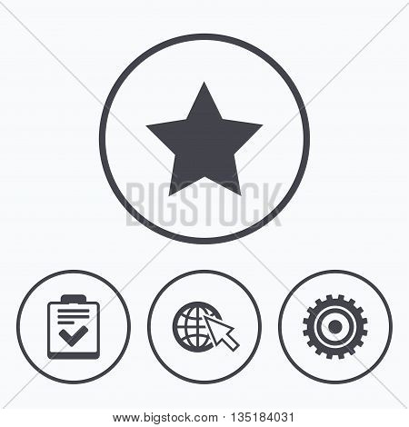 Star favorite and globe with mouse cursor icons. Checklist and cogwheel gear sign symbols. Icons in circles.