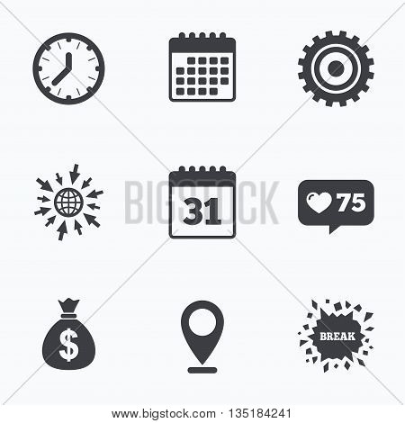 Calendar, like counter and go to web icons. Business icons. Calendar and mechanical clock signs. Dollar money bag and gear symbols. Location pointer.