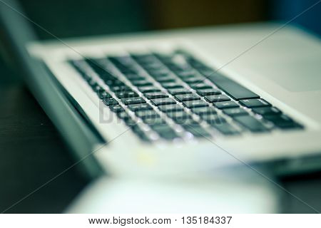 keyboard close up with narrow DOF effects