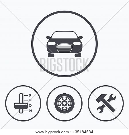 Transport icons. Car tachometer and automatic transmission symbols. Repair service tool with wheel sign. Icons in circles.