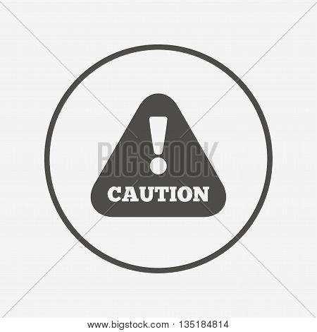 Attention caution sign icon. Exclamation mark. Flat caution icon. Simple design caution symbol. Caution graphic element. Round button with flat caution icon. Vector