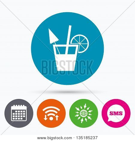 Wifi, Sms and calendar icons. Cocktail sign. Alcoholic drink symbol. Go to web globe.