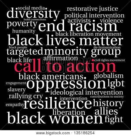 Call To Action word cloud on a black background.