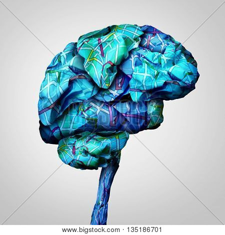Brain mapping mental health concept and psychology challenge symbol or brainstorming icon as a group of crumpled paper road map shaped as a human mind in a 3D illustration style.