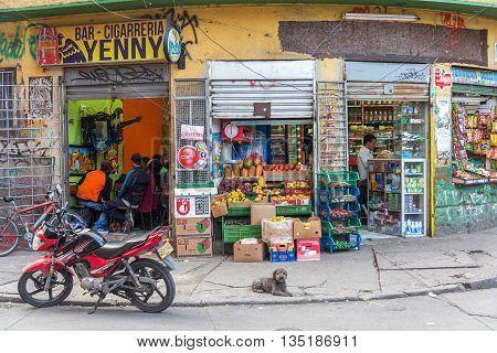Bar And Market On Street Corner