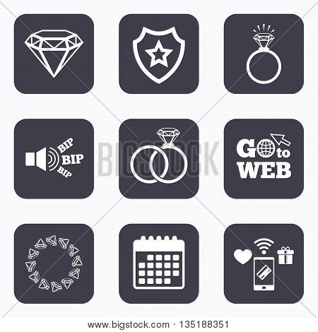 Mobile payments, wifi and calendar icons. Rings icons. Jewelry with shine diamond signs. Wedding or engagement symbols. Go to web symbol.