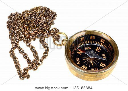Vintage compass with chain on white background with clipping path