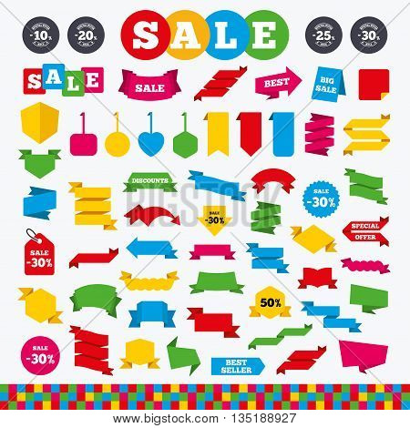 Banners, web stickers and labels. Sale discount icons. Special offer stamp price signs. 10, 20, 25 and 30 percent off reduction symbols. Price tags set.