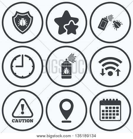 Clock, wifi and stars icons. Bug disinfection icons. Caution attention and shield symbols. Insect fumigation spray sign. Calendar symbol.