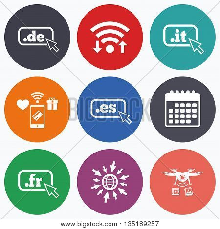 Wifi, mobile payments and drones icons. Top-level internet domain icons. De, It, Es and Fr symbols with cursor pointer. Unique national DNS names. Calendar symbol.