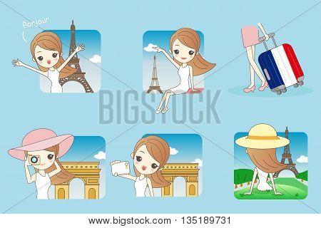 Cartoon Happy travel woman in Paris with Eiffel Tower