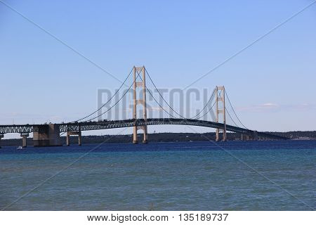 The Mackinac Bridge in Michigan that contacts the Upper and Lower parts of Michigan.
