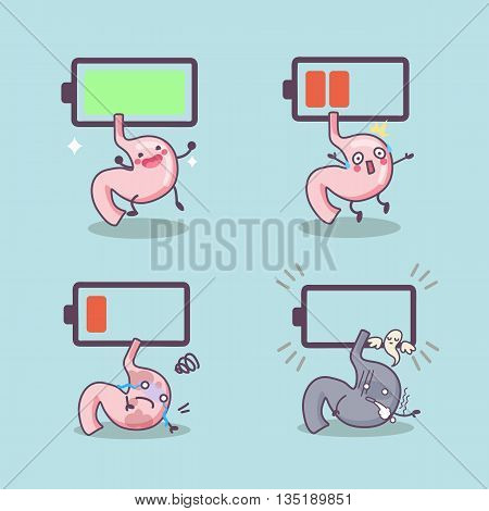 cute cartoon stomach with battery great for Health concept design