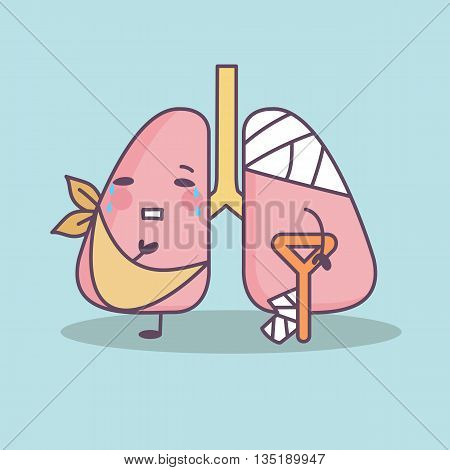 cartoon injured lung with crutch great for health care concept