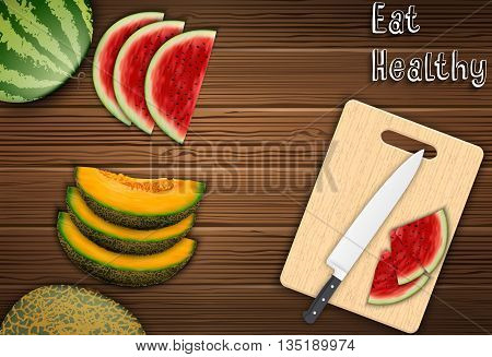 Illustration of Fresh fruits slices on the table with a knife and watermelon on a cutting board background