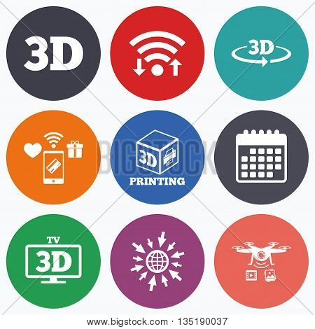 Wifi, mobile payments and drones icons. 3d technology icons. Printer, rotation arrow sign symbols. Print cube. Calendar symbol.